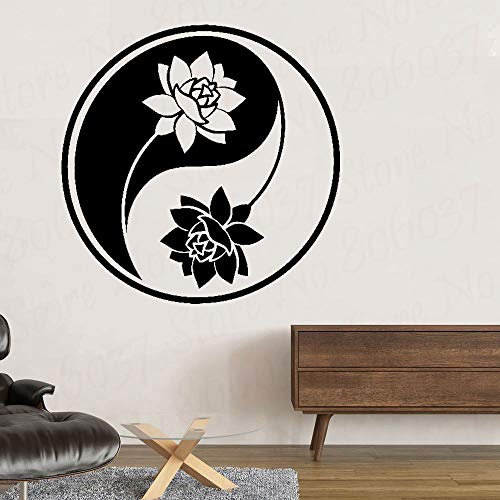 wZUN Fashion Car Sticker Yin Yang Lotus Yoga Meditation Buddhist Art Accessories Vinyl Decal 63X63cm