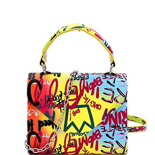 Mini Top-Handle Retro Box Flap PU Leather Satchel Crossbody Leopard Snake Neon (1Plain Top-Handle - Graffiti Art Multi)