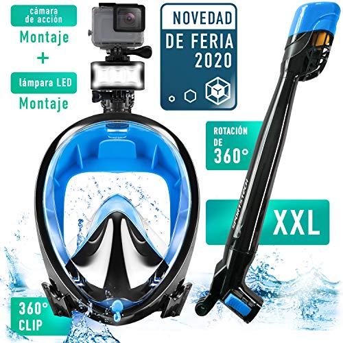 Co2 Máscara de Buceo con esnórquel de 360° +Clip rápido, LED y Soporte para la cámara | Sin respiración pendular | Máscara Snorkel Easybreath niños y Adultos | Máscara panorámica | Sporstech SNX650