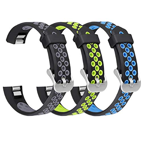 SKYLET Compatible with Fitbit Ace/Fitbit Alta Hr Bands, 3 Pack Soft Breathable Sport Wristbands Compatible with Fitbit Alta Kids Band Men Women (Black-Gray, Black-Green, Black-Blue Small)