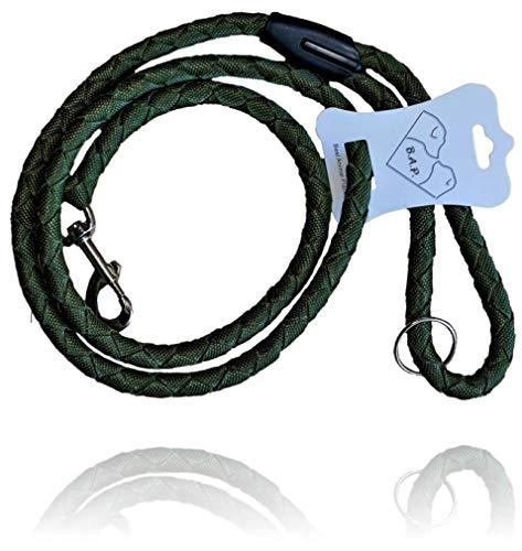 B.A.P. Premium Hundeleine aus Nylon-Kletterseil, Mittlere/Große Hunde, 1,5cm x 150cm, olivgrün│Trainingsleine│geflochten│