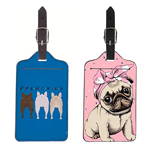 Salabomia Luggage Tag Initial Bag Holders 2 Piece Pu Leather Fully Bendable Tags with Adjustable Straps for Business Travel Accessories French Bulldog + Pink Pug Design