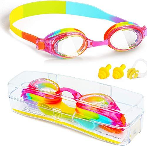 ZW Kids zwembril, waterdichte anti-mist UVA/UVB bescherming geen lekken duidelijk Wide Vision zachte siliconen pakking zwembril met case neus clip