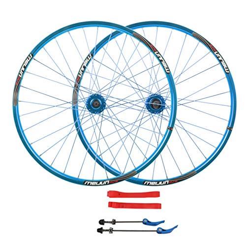 ZNND Ciclismo Wheels,Ruedas de Bicicleta 26'' Freno de Disco Aleación Aluminio Llanta MTB de Doble Pared Soporta Neumáticos 26 * 1.35-2.35 (Color : Blue)