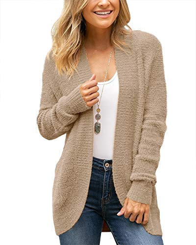 SySea Womens Long Sleeve Open Front Fuzzy Cardigans Chunky Knit Sweaters Outwear with Pockets Khaki