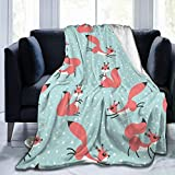 Fehuew Little Cute Squirrels Winter Snow Soft Throw Blanket 40x50 inch Lightweight Warm Flannel Fleece Blanket for Couch Bed Sofa Travel Camping for Kids Adults