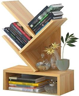 XJJUN Tree Desktop Bookshelf,3/5-Shelf Bookcase Rack, Free Standing Book Storage Organizer, Books/CDs/Files Holder In Livi...