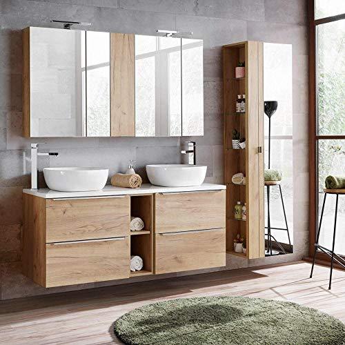 Lomadox Badmöbel Set in Wotaneiche & Hochglanz weiß, 140cm Waschtisch mit 2 Keramik-Waschbecken & 2 Spiegelschränken