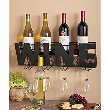 "Premium Black Wall Mount Metal Wine Rack With ""WINE"" Word By Besti – Hanging Horizontal Bottle Holder Storage Decorative Display – Sturdy Construction –Home Décor For Living Room Or Kitchen (Wine)"