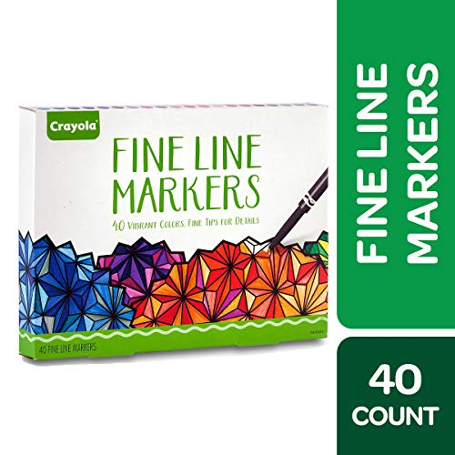 Crayola Fine Line Markers Adult Coloring Set, Gift Age 12+ - 40 Count