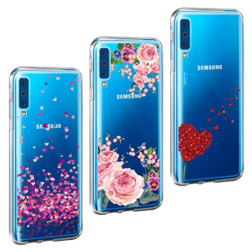 ivencase 3X Cover Galaxy A7 2018, Galaxy A7 2018 Cover Silicone TPU Morbido Flessibile Gomma Opaco Custodia Antiscivolo Satinato, Ultra Sottile Nuovo Cassa Protettiva per Galaxy A7 2018