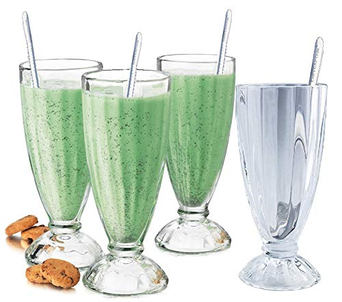 Fountain Shoppe Classic, Milk Shake, Ice Cream Soda Glass, 12-Ounce, Clear With Long Stainless Steel Spoons 4 PACK By Chefcaptain (4 Glaases 4 Long Spoons)