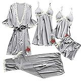 5PCS Femme Chic Peignoir Pyjama Ensemble de Cinq Dentelle Robe Nuisette Vêtements De Pyjama Kimono Sexy en Dentelle + Robes de...