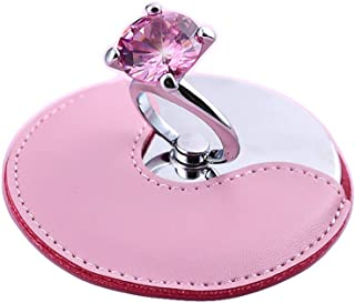 Vanity Mirror Portable Makeup Mirror Diamond Ring Design Multi-Angle PU Leather Case Stainless Steel Metal HD Carry (Color : Pink)