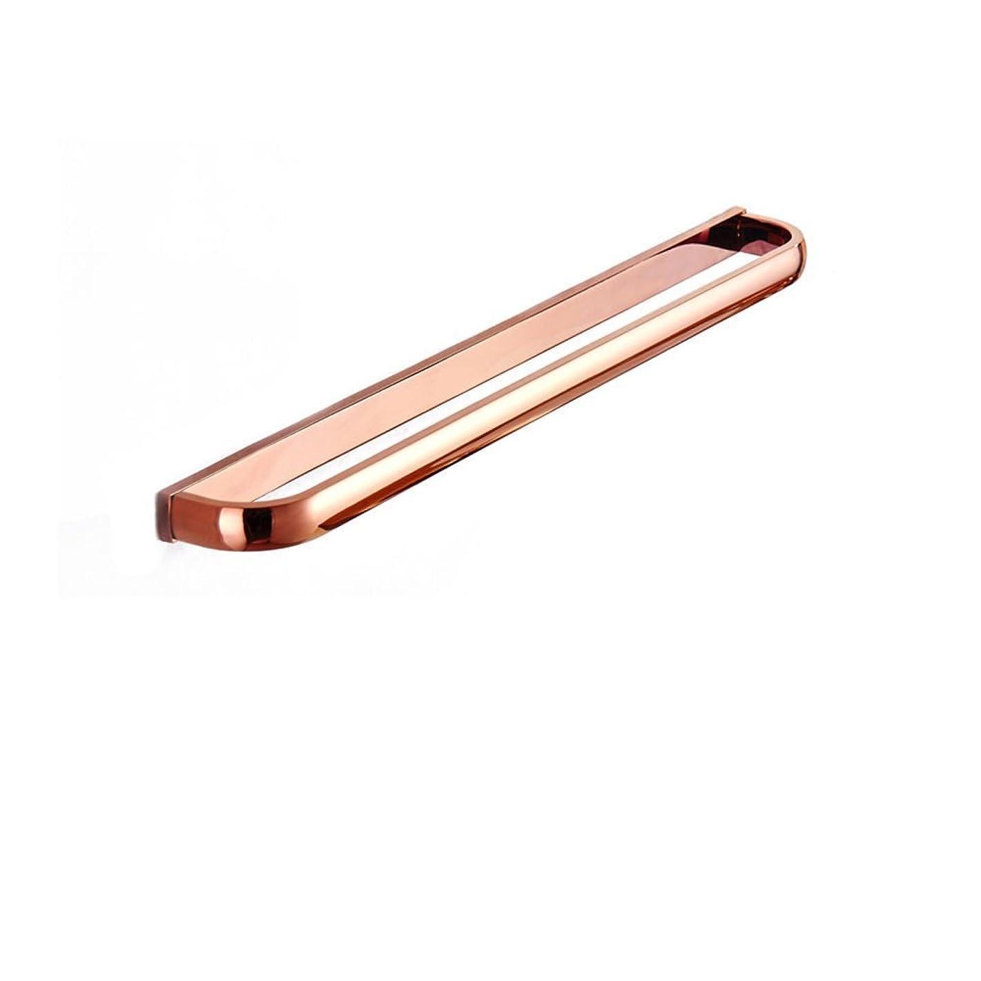 Aothpher 24 inch/60cm Wall Mounted Copper Bathroom Towel Bar Single Towel Rack, Rose Gold Polished