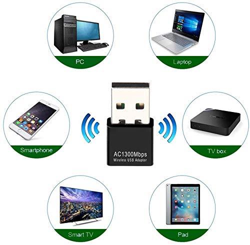 Dongle WiFi 1300 Mbps, Clé WiFi Adaptateur WiFi 802.11 AC Double Bande 5 GHz/2,4 GHz Antenne Rapide USB à Gain élevé Adaptateur Réseau sans Fil Clé USB WiFi Supporter Windows Mac Linux