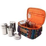 XITANG Juego de 6 botes de especias de acero inoxidable para condimentos y especias, para exteriores, bolsa para cinturón de camping (1 juego)
