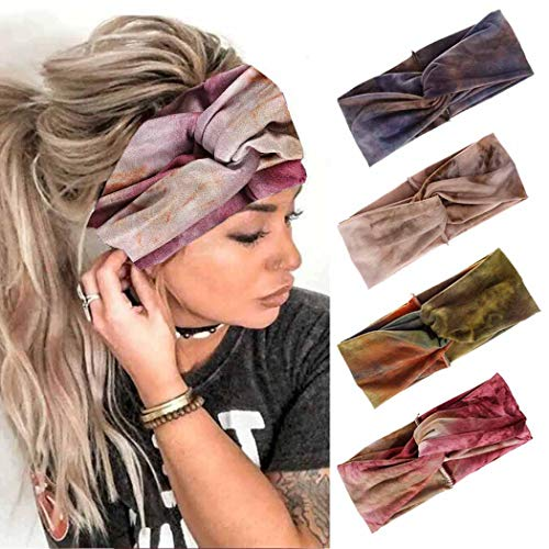 Edary Boho-Yoga-Stirnbänder, geknotete Haarbänder, Turban, gedrehtes Kopftuch, elastisches Kopftuch, Lauf-Zubehör für Mädchen und Damen, 4 Stück (style 1)