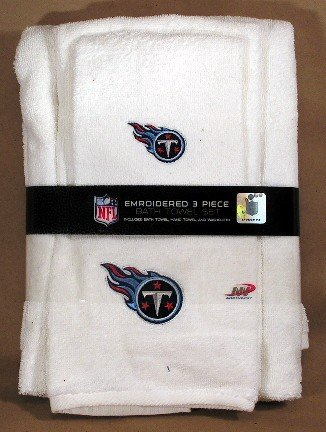 Tennessee Titans NFL 3 Piece White Embroidered Bath Towel Set ~ Bath Towel, Hand Towel & Washcloth
