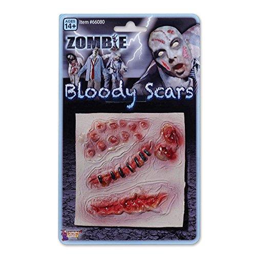 Bristol Novelty Novelty-SM018 SM018 Fausses Cicatrices de Zombie pour Déguisement, Unisex-Adult, Rouge, taille unique
