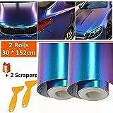 Mioke Vinilo Láminas Protectoras para Pintura, 2 Rolls 30 * 152cm Adhesiva Película para Coche Camaleón Púrpura a Azul Color cambiando