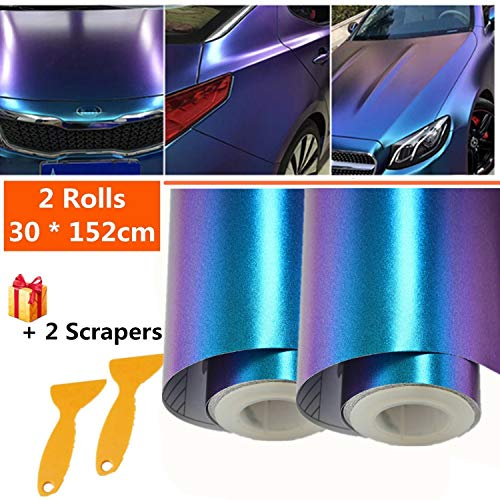 Mioke Lackschutzfolien für Auto,2Rolls 30 * 152cm Auto Folien Selbstklebend Flexibel Auto Shutz Chamäleon FolieLila zu Blau, die Farbe ändert