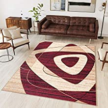 TAPISO Dream Alfombra Salón Comedor Dormitorio Moderno Rojo Crema Beige Geométrico Abstracto Suave Pelo Corto 130 x 190 cm