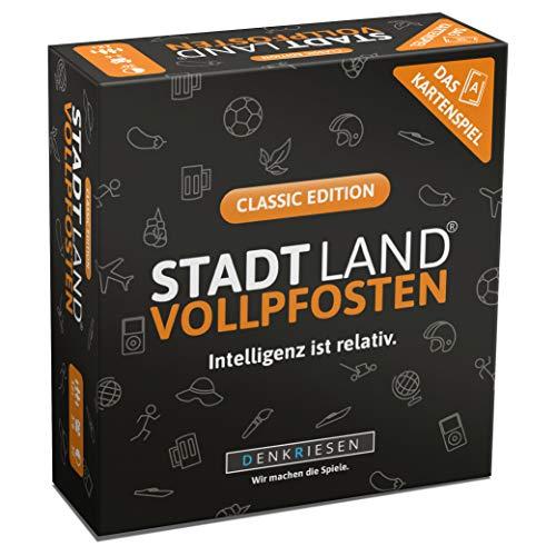 DENKRIESEN - Stadt Land VOLLPFOSTEN - Das Kartenspiel - Classic Edition | Wichtelgeschenk | Stadt Land Fluss Familienspiel | Geburtstagsgeschenk | Reisespiel