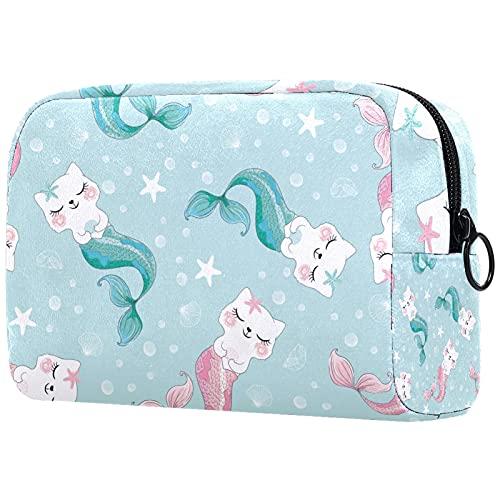 FURINKAZAN Lindo gato sirena mar viaje maquillaje bolsa para artículos de tocador bolsa de maquillaje bolsa hombres y mujeres