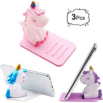3 Pack Unicorn Phone Holder, Cute Unicorn Desktop Cell Phone Stand Holder Adjustable Stand, Compatible with All Mobile Smart Phone, Tablet Office Decor Desk Smartphone Dock Unicorn Gift for Girl