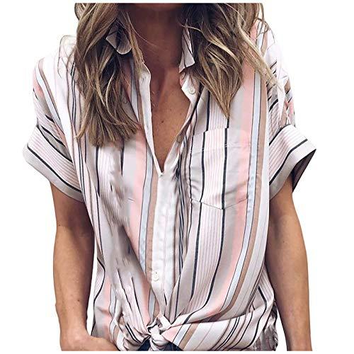 MRULIC Damen Shirt Tie-Bow Neck Striped Langarm Spleiß Bluse Gestreift Tragen(Z1-Violett,EU-42/CN-XL)