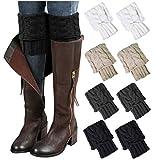 Loritta 4 Pairs Womens Boot Socks Winter Warm Crochet Knitted Boot Cuffs Topper Socks Short Leg Warmers Gifts,Style 07