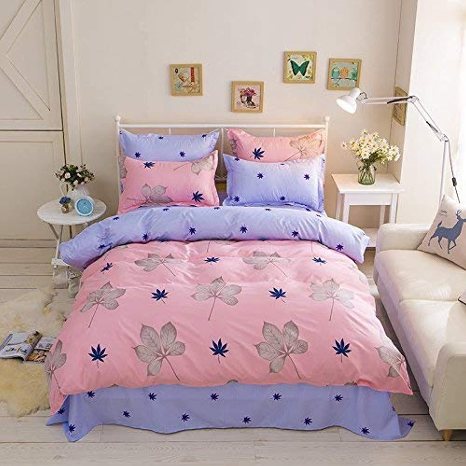 4pcs Beddingset Duvet Cover Set Without Comforter One Duvet Cover One Flatsheet Two Pillowcase KY Twin Full Queen Sweat Heart Design (Queen, Maple Leaf, Red)