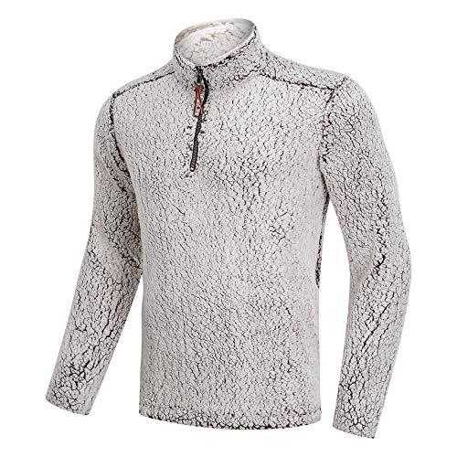 Men's Winter 1/4 Zip Fuzzy Sherpa Pullover Sweater Ultra Soft Fleece Jacket with Pockets (Coffee-0, Large)