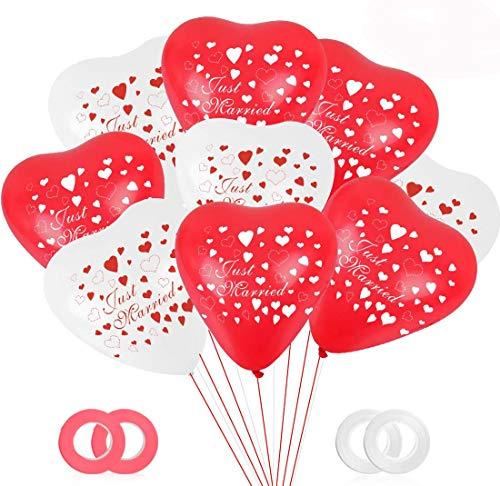 Bluelves - Globos de boda con forma de corazón, 50 unidades, color rojo y blanco, para bodas, látex, corazón, diámetro 30 cm, con diseño de Just Married, globos de helio