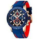 Mens Watches Waterproof, Mini Focus Stainless Steel Case Quartz Chronograph Watch for Men Casual Sport Fashion Wristwatch (Blue)