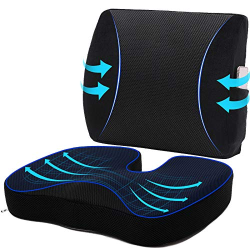 Memory Foam Car Seat Cushion for Back Pain Relief and 3D Mesh Lumbar Support Pillow, Coccyx Orthopedic Back Pillow, Chair Cushion for Tailbone Pain & Sciatica, Position Corrector Seat Cushion Set