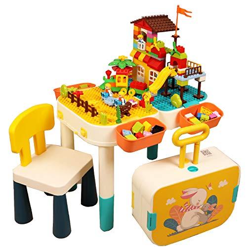 Kleinkind Activity Table, 6 in 1 Kids Table & Chair Set, Multi Activity Spielset Kompatibel Bauklotz, Spieltisch/Koffer/Storage Box/ Gebäude Tabelle/Studie Tisch/Esstisch,Enthält Keine Bausteine