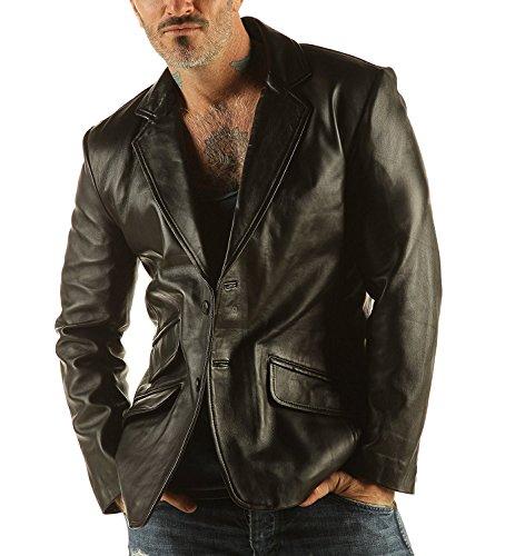 da uomo in pelle morbida giacca Blazer classico design unico colore Reefer Capra nappa Black XX-Large