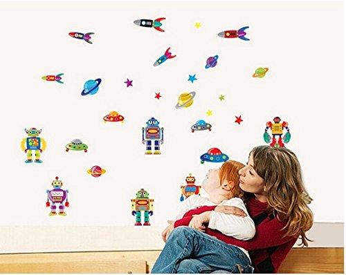 Cosmos Robots Vaisseau spatial Planètes 3D Une collection de planètes Ensemble Chambre Amovible Mural Garderie Decal Décor Bébé Art Autocollant mural Autocollants Décoration Des gamins