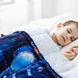 Sivio Kids Sherpa Fleece Weighted Blanket, 3lbs Spaceship, Ultra Soft and Cozy Heavy Blanket, Great for Calming and Sleep, Fall and Winter Sherpa Flannel Weighted Blanket for Child, 36x48 Inch