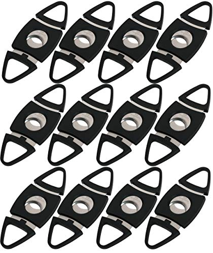Mantello Black Plastic Guillotine Cigar Cutter (12 Pack)