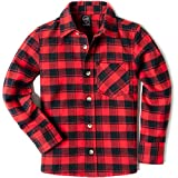 CQR Kids Little Boys Girls Baby Plaid Flannel Shirt Long Sleeve, All-Cotton Soft Brushed Casual Button Down Shirts, Active Flannel Plaid(lof003) - Red Buffalo, 18-24_Months