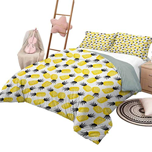 Daybed Quilt Set Pine Custom Bedding Machine Washable Star Patterned Arrangement of Exotic Fruits with Greyscale Leaves Full Size Black Grey and Yellow