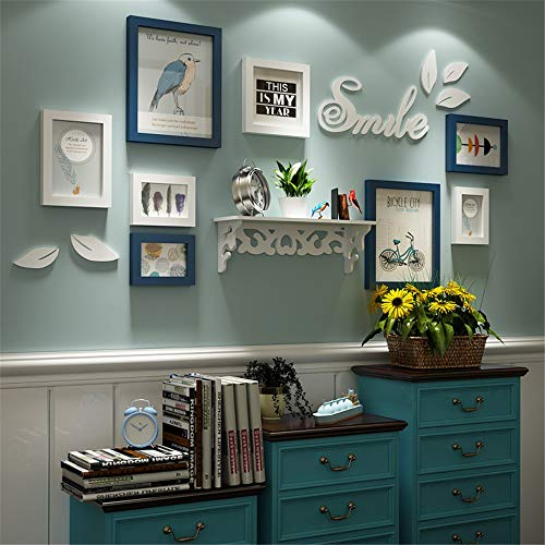 Effen hout creatieve foto muur frame fotogalerij moderne eenvoudige grote multi-fotolijsten muur Set wit blauw Collage muur decoraties voor Home Office Hotel Country Style