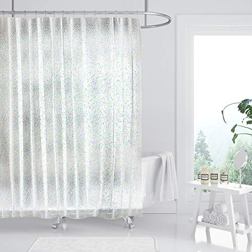 ONINAA Waterproof Glitter Shower Curtain Liner No Smell with Heavy Duty Stones & Rustproof Grommets Holes 72x72 Inches-Glitter Clear, 180cm X 180cm