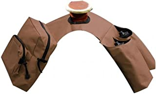 Showman BROWN Insulated Cordura Trail Riding Horn Saddle Bag 2 Zipper Pockets and 2 Water Bottle Holders WITH Water Bottles