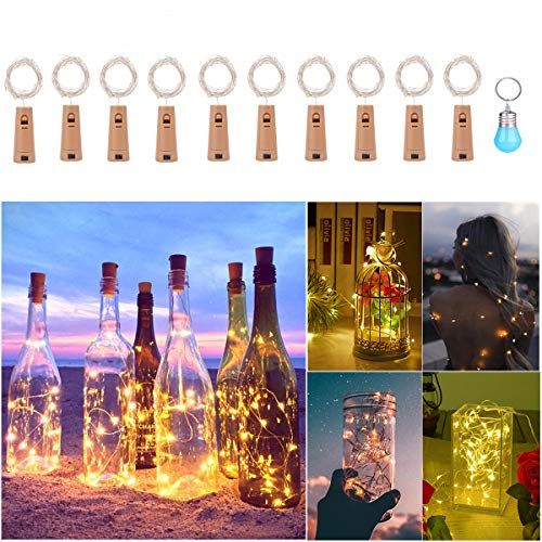 LED tapón luminoso, evilto 10x 20LEDs Guirnalda 2m lámparas de botella para DIY, hogar, exterior, jardín, terraza, cámara, boda, navidad, escenario de apertura–blanco cálido