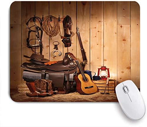 Dekoratives Gaming-Mauspad,Western Decor, American Texas Style Country Musik Gitarre Cowboystiefel USA Folk Culture,Bürocomputer-Mausmatte mit rutschfester Gummibasis