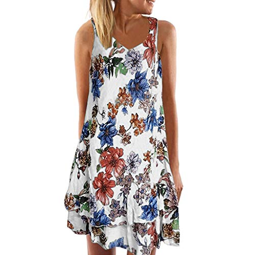 Lowest Price! ZOMUSAR Women Summer V Neck Sleeveless Boho Dress Printed Beach Party Mini Dress Women...